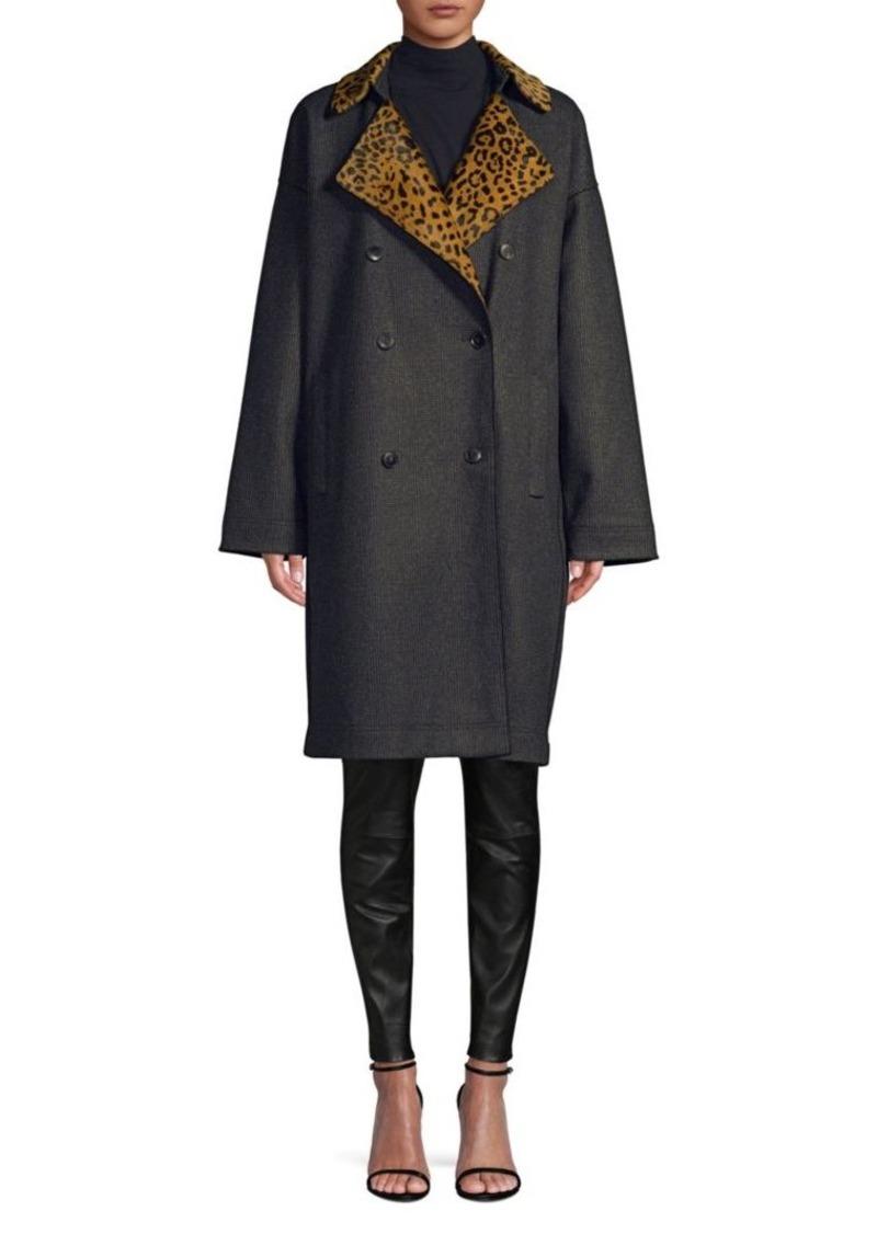 Lafayette 148 Laurita Leopard Print Collar Coat