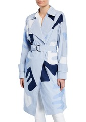 Lafayette 148 Laurita Sartorial Striped Applique Coat