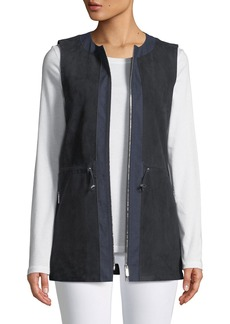 Lafayette 148 Lavine Perforated Suede Zip-Front Vest