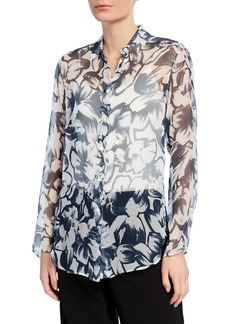 Lafayette 148 Leanne Silk Long-Sleeve Blouse