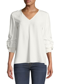 Lafayette 148 Leland Gathered-Sleeve Silk Blouse  White Cloud
