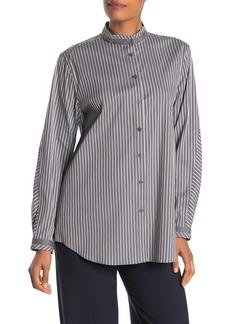 Lafayette 148 Lenno Mandarin Collar Striped Shirt