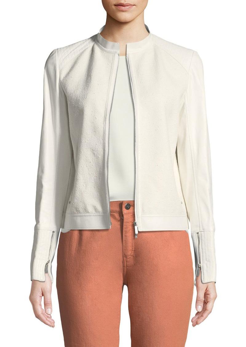 Lafayette 148 Lennon Leather-Trim Cotton-Blend Jacket
