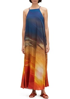 Lafayette 148 Leonissa Textured Desert High-Neck Sleeveless Maxi Dress