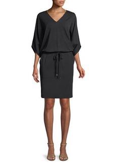 Lafayette 148 Lewis Drawstring-Waist Jersey-Crepe Dress
