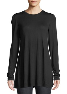 Lafayette 148 Lexia Crewneck Long-Sleeve Featherweight Jersey Top