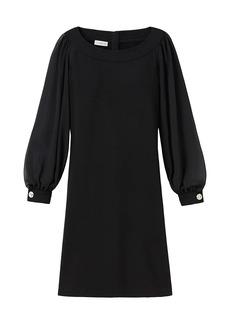 Lafayette 148 Linden Sheer-Sleeve Combo Dress