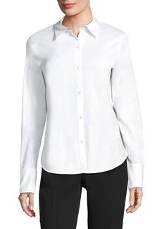 Lafayette 148 Linely Italian Stretch Cotton Blouse