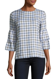 Lafayette 148 Linen Check Tiered-Sleeve Blouse