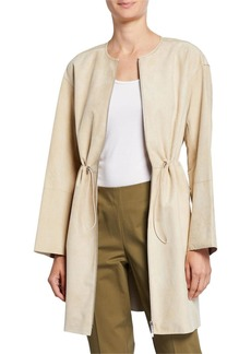 Lafayette 148 Linnea Leather Zip-Front Cinched-Waist Jacket