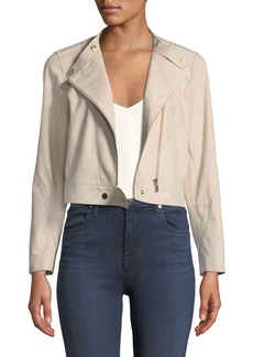 Lafayette 148 Lisette Sueded-Leather Moto Jacket