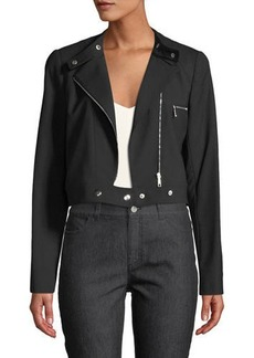Lafayette 148 Lisette Wool-Twill Moto Jacket