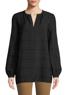 Lafayette 148 Lolita Long-Sleeve Striped-Jacquard Gauze Blouse