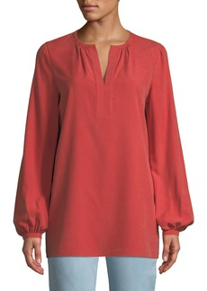 Lafayette 148 Lolita Long-Sleeve Sueded Matte Silk Blouse