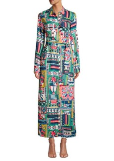 Lafayette 148 Long Doha Printed Midi Shirtdress