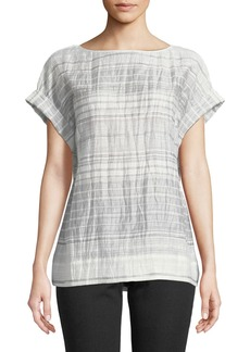 Lori Short-Sleeve Palmetto Crinkle-Stripe Blouse