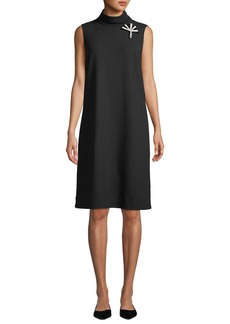 Lafayette 148 Lovisa Double-Face Knit Dress with Pin Embellishment