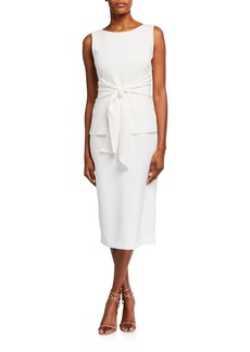 Lafayette 148 Lucy Sleeveless Tie-Front Finesse Crepe Dress