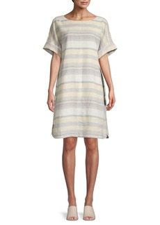 Lafayette 148 Lydia Oversized Striped Linen Shift Dress