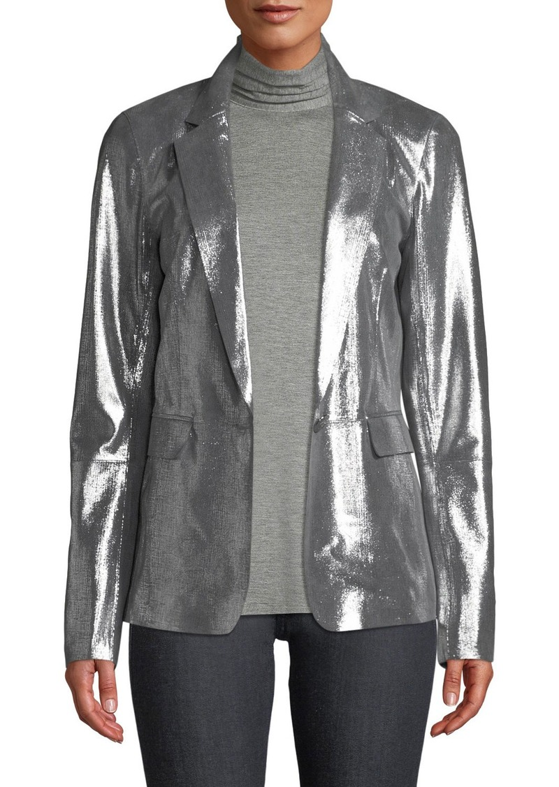 Lafayette 148 Lydon Novelty Shimmer Suede One-Button Jacket