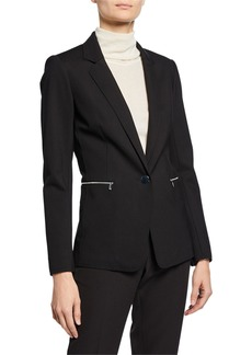 Lafayette 148 Lyndon Button-Front Zip-Pocket Blazer