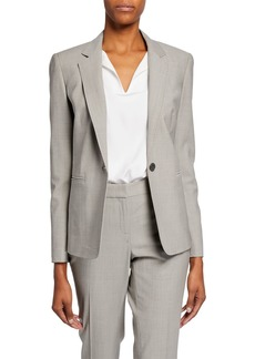 Lafayette 148 Lyndon Stitched One-Button Blazer