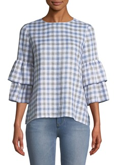 Lafayette 148 Mabel Long-Sleeve Linen Blouse