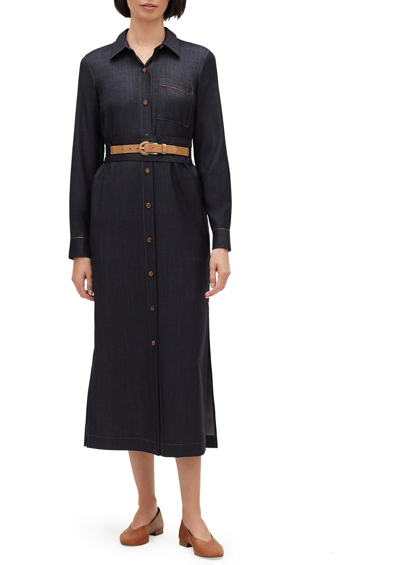 Lafayette 148 Madra Mercantile Cloth Button-Front Long-Sleeve Belted Dress