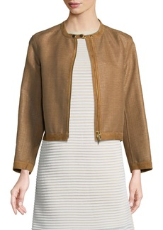 Lafayette 148 Makena Suede-Trim Raffia Weave Jacket