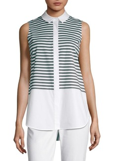 Lafayette 148 Malta Stripe Sleeveless Blouse