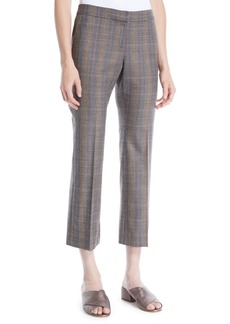 Lafayette 148 Manhattan Plaid Cropped Flare Pants