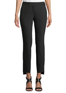 Lafayette 148 Manhattan Slim-Leg Stretch Pants w/ Step Hem