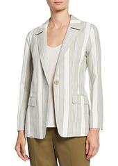 Lafayette 148 Marie Striped Linen Blazer