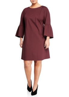 Lafayette 148 Marisa Bell-Sleeve A-line Dress  Plus Size