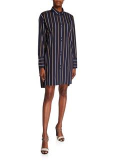 Lafayette 148 Marivin Striped Button-Down Oversized Boyfriend Shirt