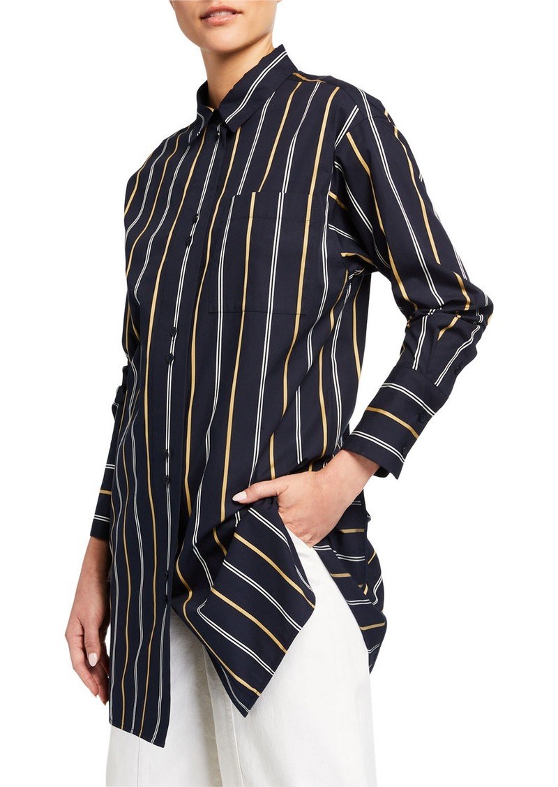 Lafayette 148 Marivin Striped Button-Down Oversized Boyfriend Shirt