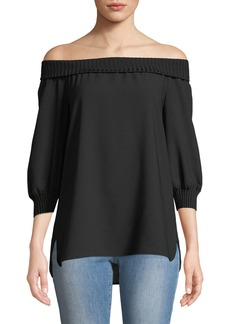 Lafayette 148 Marlo Silk Off-the-Shoulder Blouse w/ Ribbed Trim