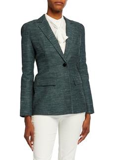 Lafayette 148 Marris One-Button Mayfair Weave Jacket