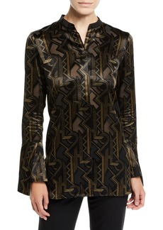 Lafayette 148 Marybeth Mod Deco Burnout Blouse