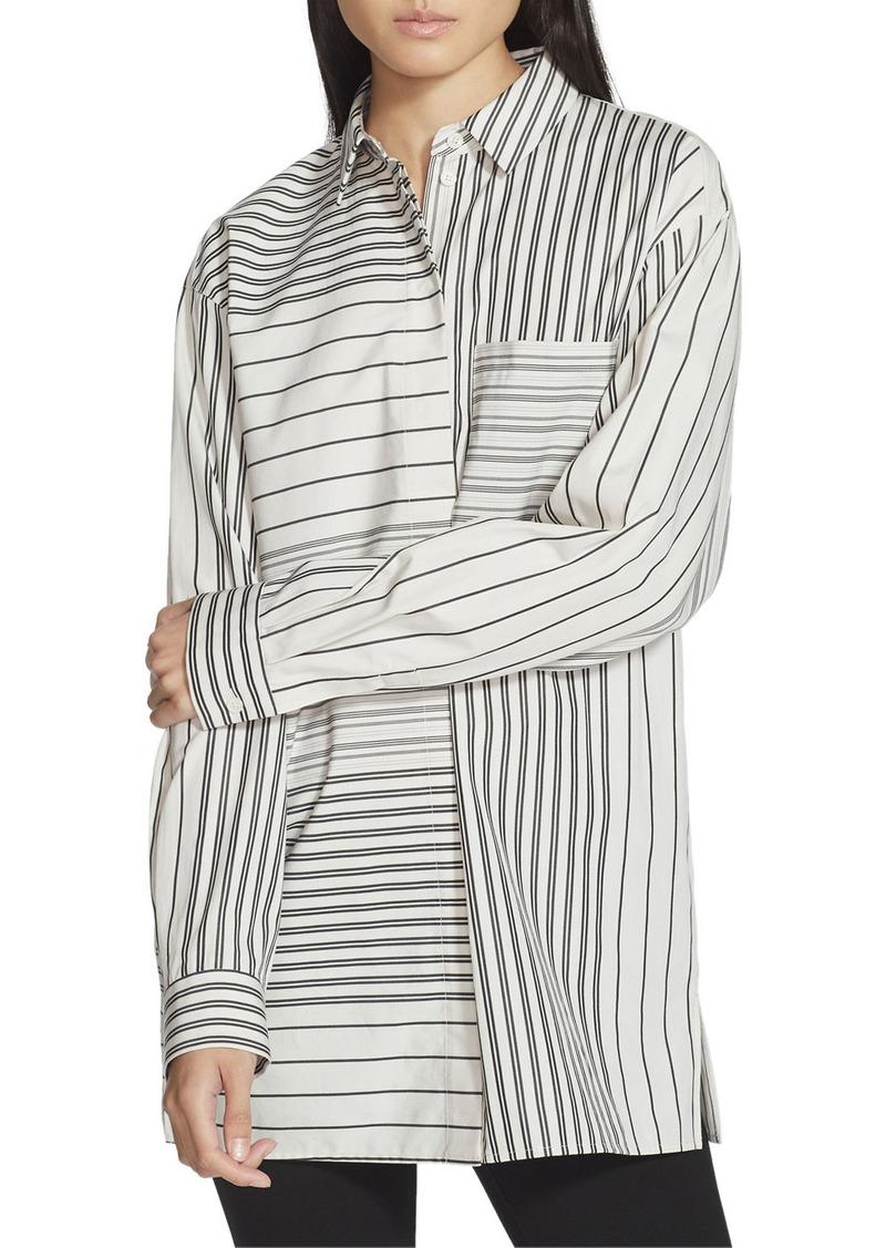 Lafayette 148 Maston Transcendent Stripe Cotton Blouse