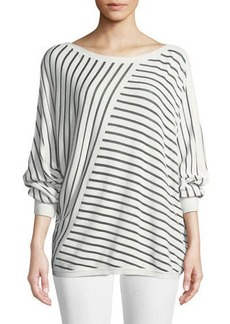 Lafayette 148 Matte Crepe Directional Striped Sweater