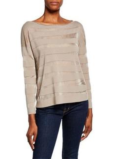 Lafayette 148 Matte Crepe Intarsia-Striped Sweater