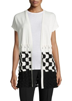 Lafayette 148 Matte Crepe Two-Tone Cable-Knit Vest