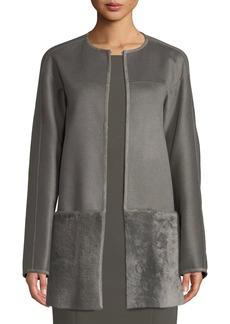 Lafayette 148 Maureen Topper Jacket W/ Shearling Combo