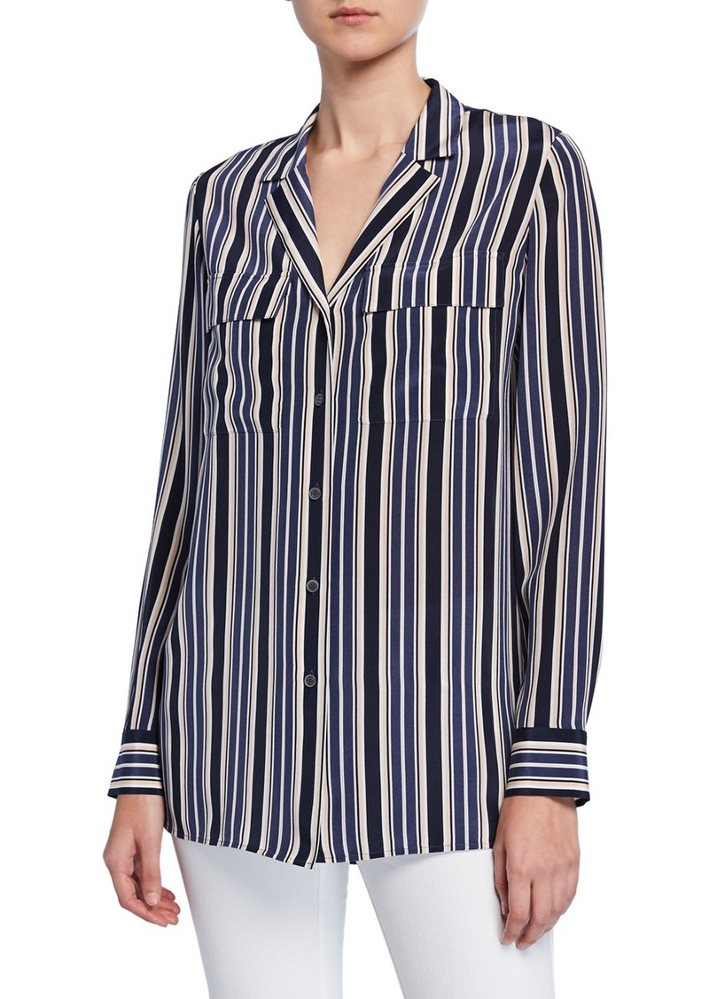 Lafayette 148 Maximina Painted Desert Stripe Button-Down Silk Blouse