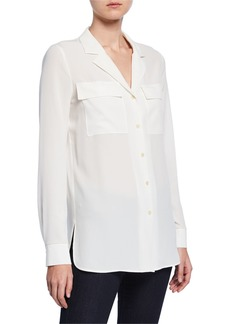 Lafayette 148 Maximina Sandwashed Button-Down Blouse with Notch Collar