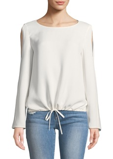 Lafayette 148 Maxina Long-Sleeve Cold-Shoulder Silk Blouse