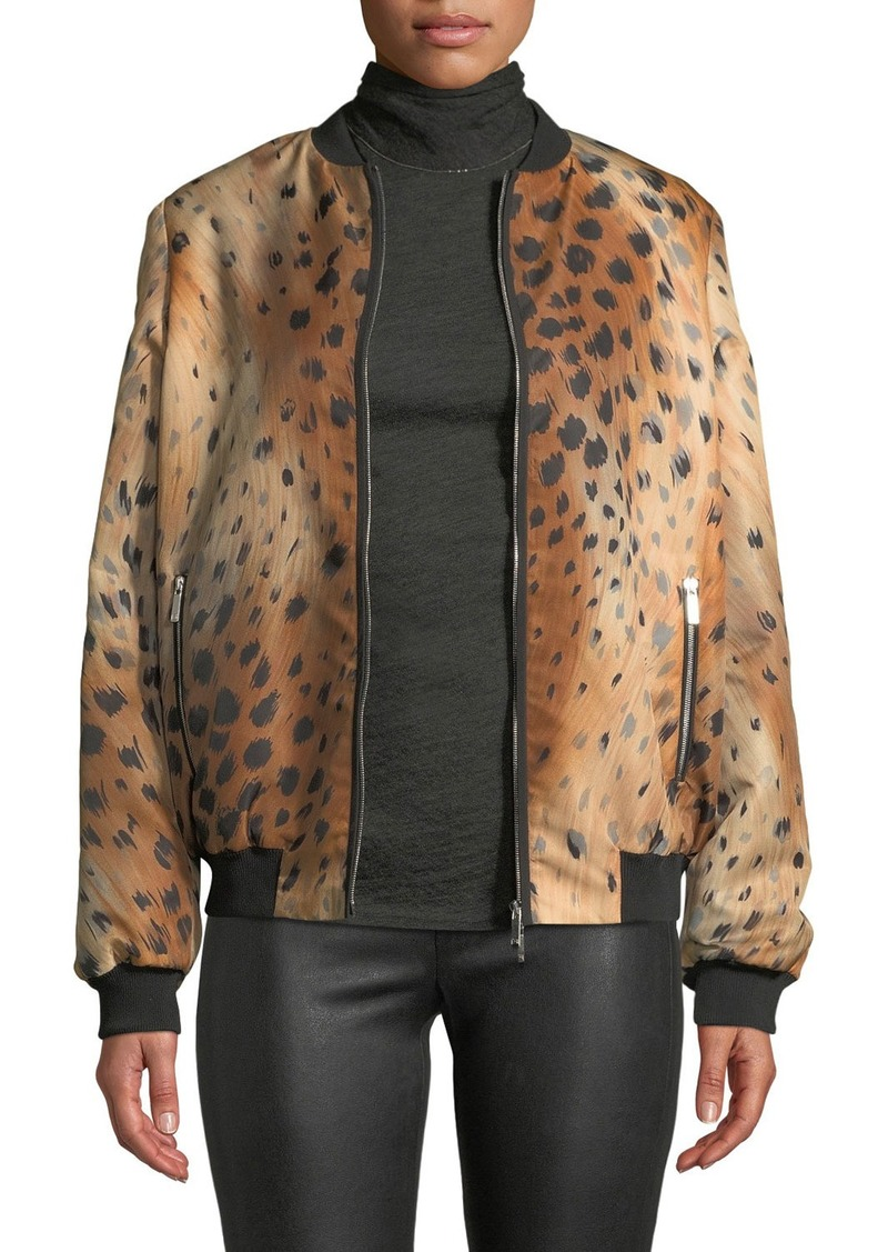 Lafayette 148 Melrose Zip-Front Leopard-Print Tech Cloth Bomber Jacket