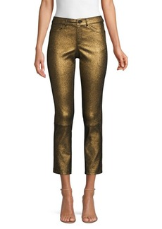 Lafayette 148 Mercer Cropped Metallic Leather Skinny Pants