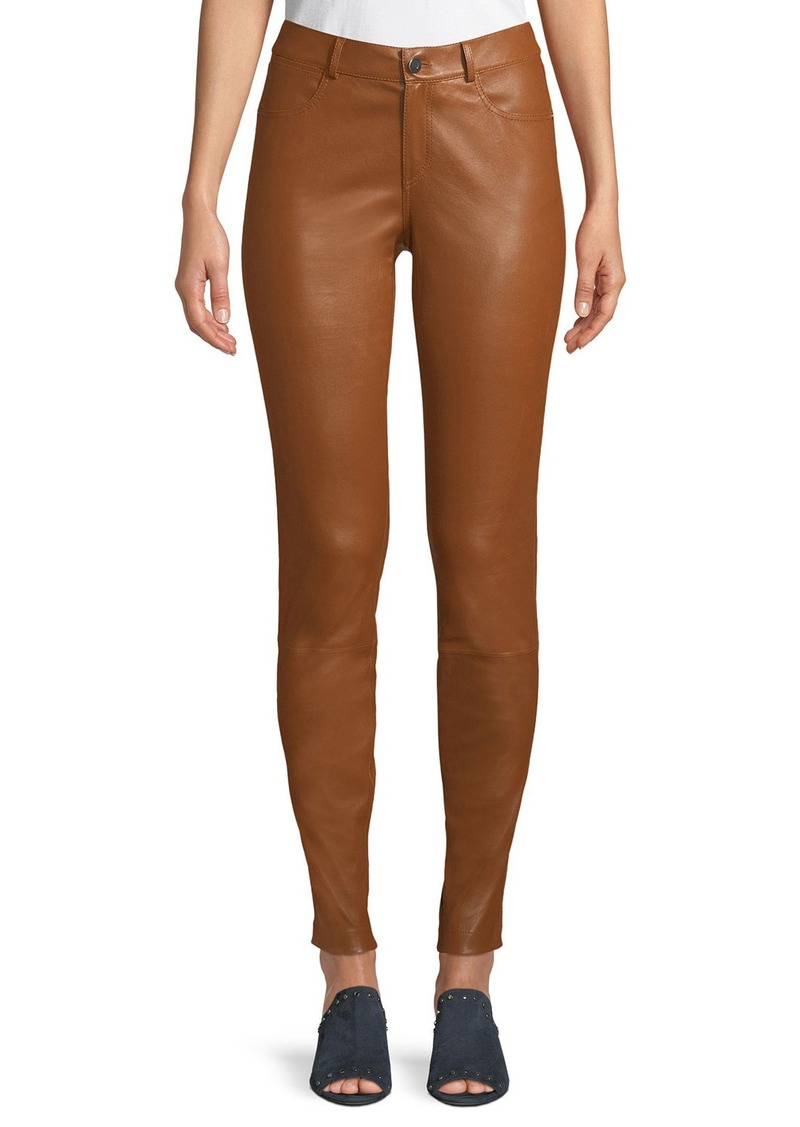Lafayette 148 Mercer Mid-Rise Leather Skinny Jeans
